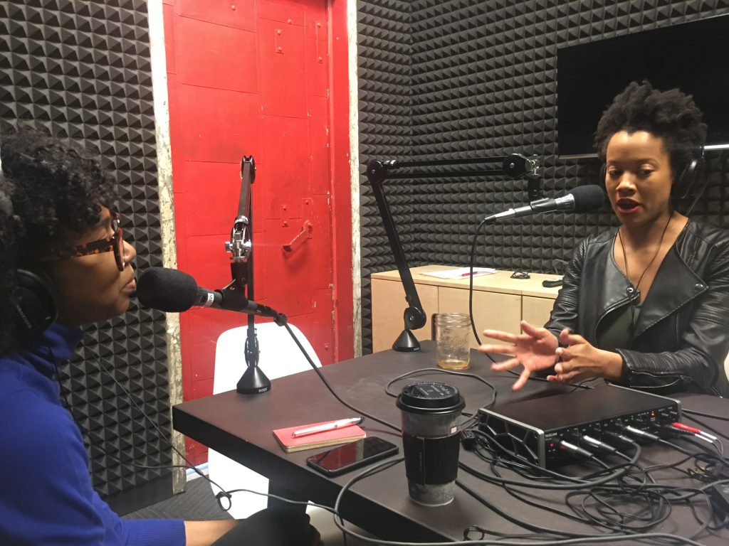 Zakkiyyah Najeebah (left) and Lauren Ash (right) of podcast 'Black Girl in Om' during a recording session. Photo courtesy of the artist.