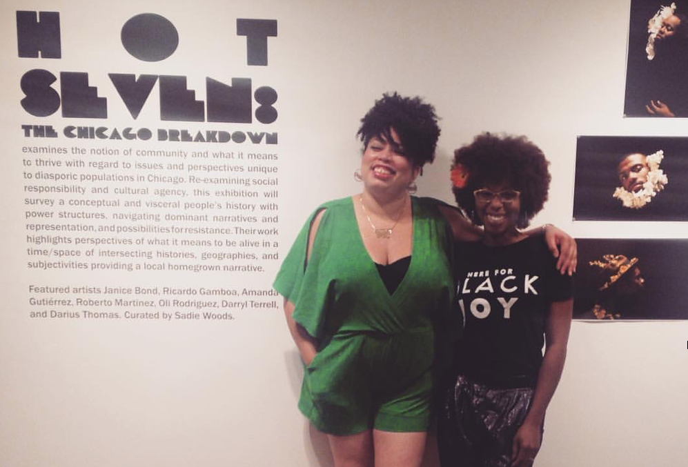 Curator Sadie Woods (left) and curator La Keisha Leek at the opening reception of Hot Seven. (Photo courtesy of Sadie Woods.)