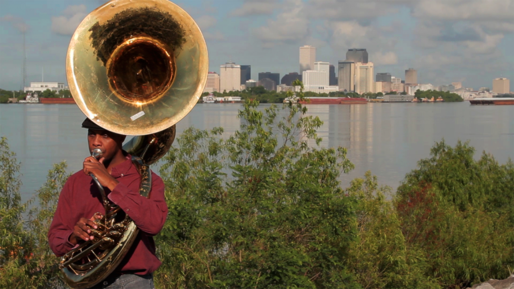 Still from H-E-L-L-O (Infra-Sound/Structure), New Orleans, Louisiana, USA, Directed by Cauleen Smith, Produced by Kiara Akerman, Cinematography by William Sabourin, 2014.