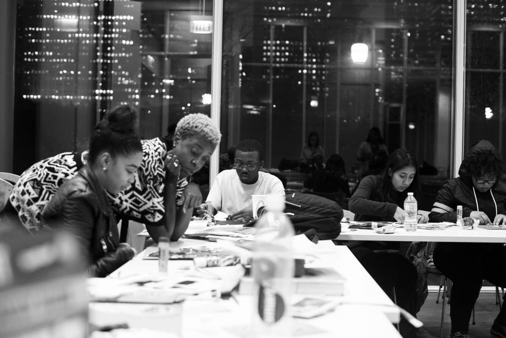 Krista Franklin working with youth during a visit with the Art Institute of Chicago's Teen Lab, November 2016. Photo by RJ Eldridge.