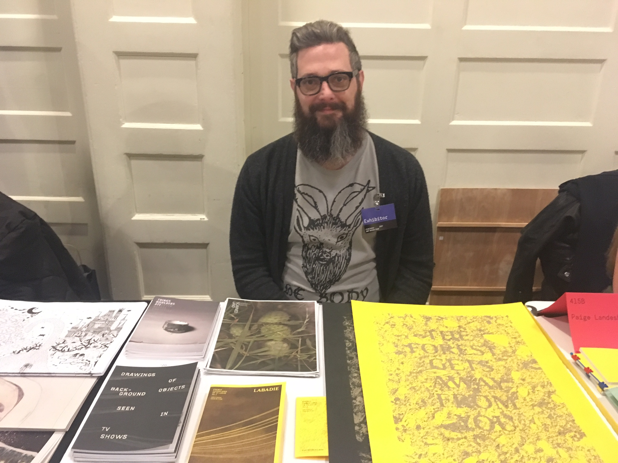 Chad Rutter of Mystery Spot Books at the Chicago Art Book Fair.
