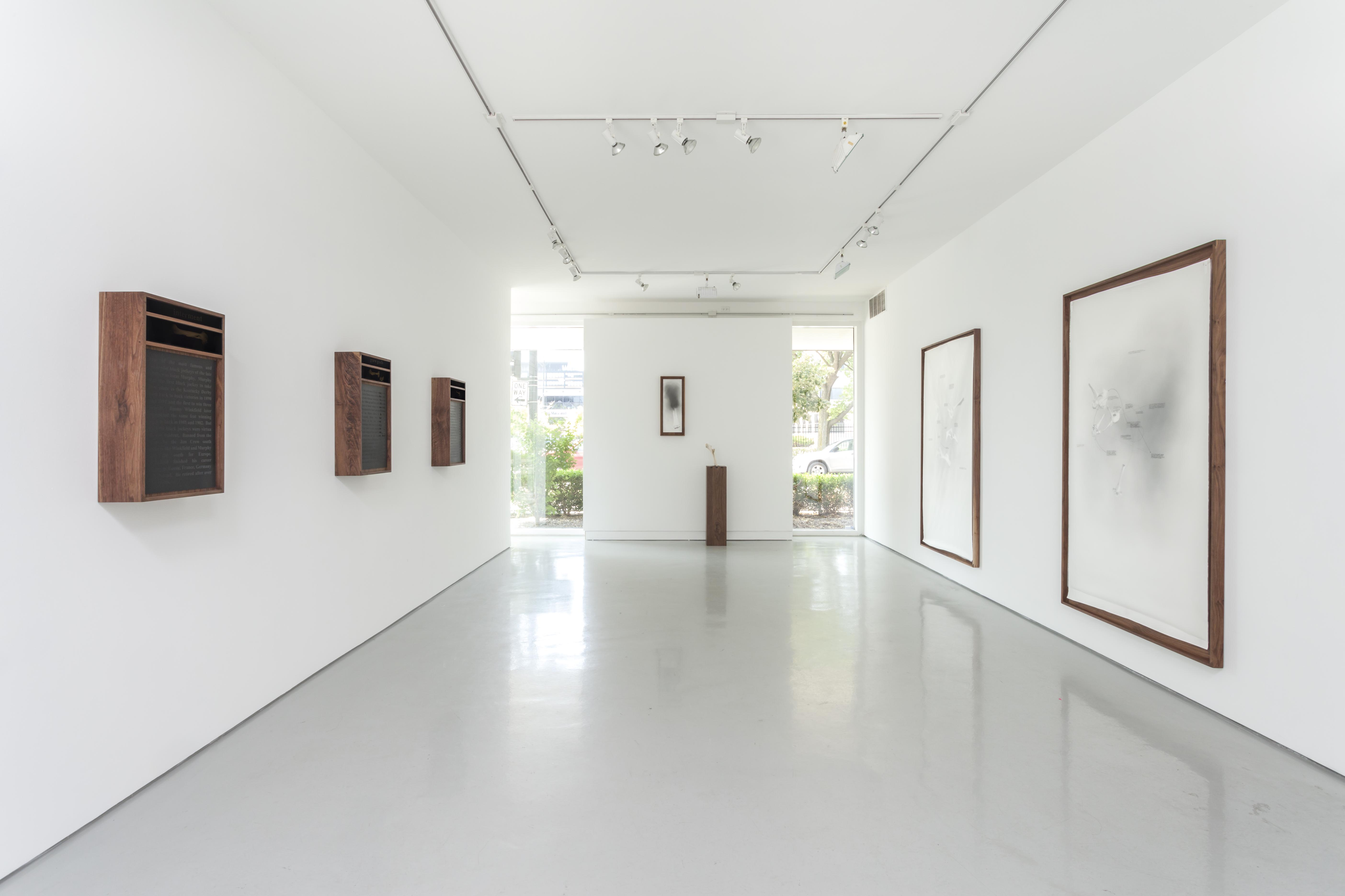Installation View of Nate Young Exhibition. Six text and image artworks on white walls with one sculpture made of wood and bone.