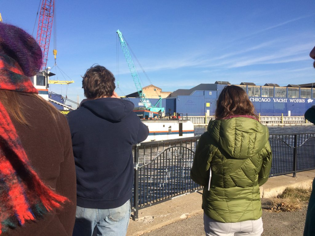 The group looks out at Chicago Yacht Works, the former site of Edward Hines Lumber Company's lumberyard. Photo: Nina Wexelblatt