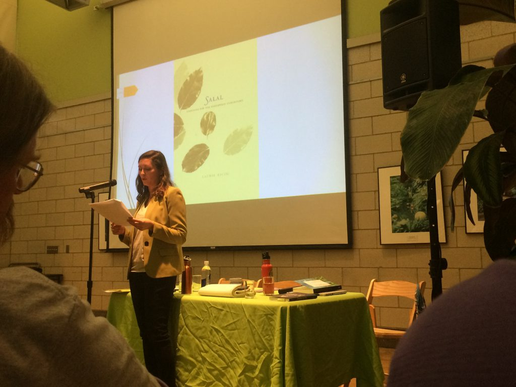 Aubry Streit Krug discusses plant life, language, and listening to the environment at the Garfield Park Conservatory. Photo: Nina Wexelblatt