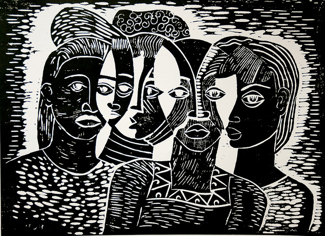 A black and white illustration of four women, all from the chest up, standing closely together. Parts of their faces overlap with shared eyes.
