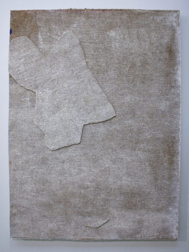 Befall, found white painted carpet on panel, 2017.