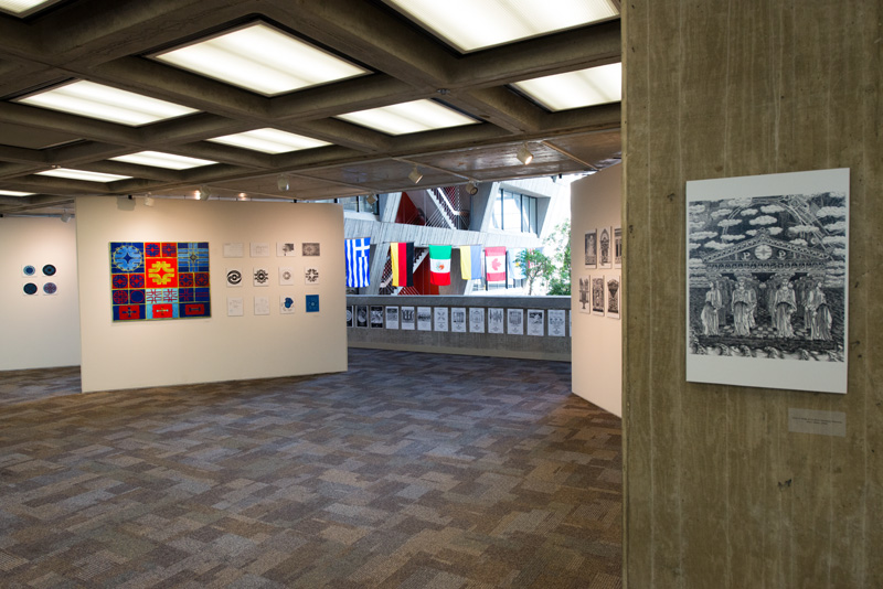 "Installation view of ""A Lasting Mark: Artist Angela Gonzales at Fermilab 1967-1998"" at Fermilab Art Gallery. Photo by Al Johnson. Courtesy of Fermilab."