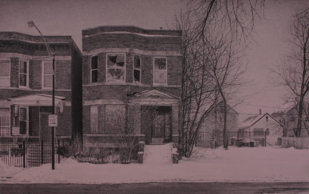 """Jennifer Cronin, """"What was Once a Home (South Laflin Street),"""" 2015. Carbon pencil on toned paper, 11"""" x 19.5"""". Image of a brick two-flat building with broken and boarded windows, graffiti on the entrance, and unshoveled snow covering the entryway and sidewalk. Beside it is another brick house and a street lamp, and on the other side of the two-flat is an empty plot with bare trees, and beyond the plot are more houses in the background. Image courtesy of the artist."""