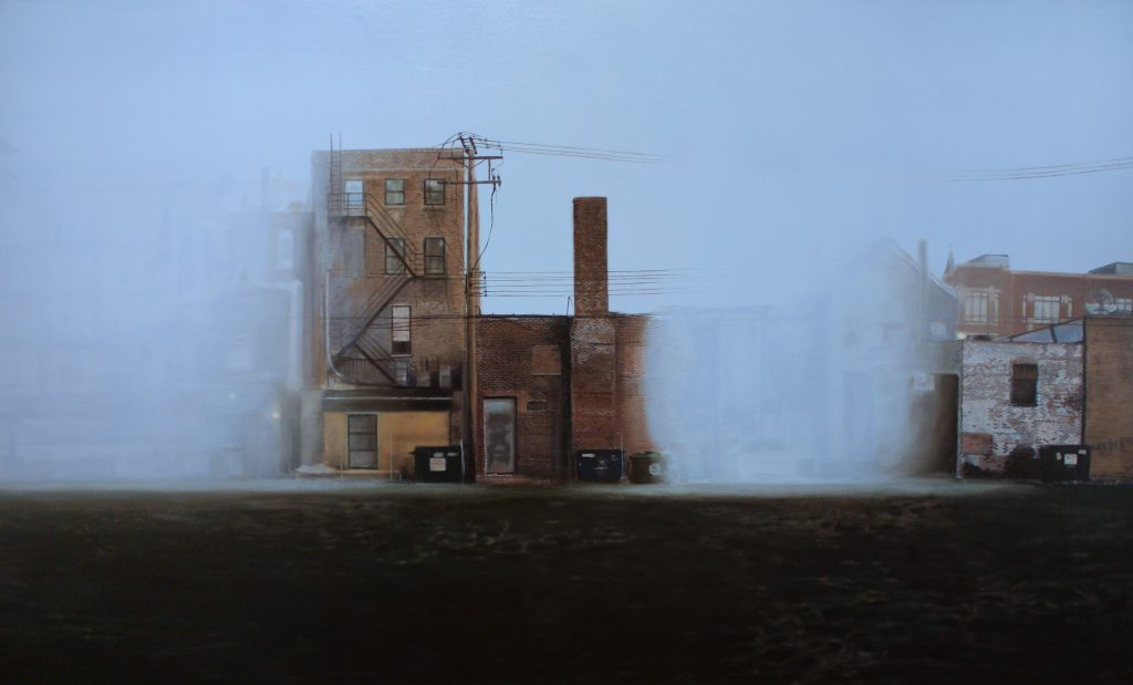 """Jennifer Cronin, """"Perception of What May Not Be #2,"""" 2013. Oil on canvas, 36"""" x 60"""". Image of the backs of brick, low-lying contiguous buildings with fire escape, back doors, dumpsters, power lines, and faded paint in an urban landscape. Parts of the landscape are occluded by an optical haze that merges with the sky in the background. Image courtesy of the artist."""