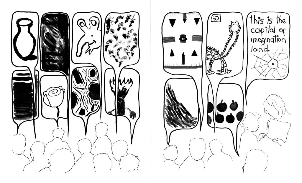 """This is a two-page spread, together showing a continuous scene, with black drawings against a white background. Toward the bottom of the frame are outlines of several children's heads, with their thought bubbles taking up most of each page. The thought bubbles depict a range of images with varying levels of detail. Some are concrete and perhaps recognizable images (such as a vase, a rose, fruits, alien- and dragon-like creatures, a cartoon character) and others are abstract (a swirl of black, layered stripes, gestural dabs, a set of symmetrically arranged marks, a slope of dash marks, an asymmetrical lined shape stretching within its bubble). The last thought bubble is connected to a child standing next to an adult and pointing at a paper; the thought bubble shows a spider web and includes the words """"this is the capital of imagination land"""" in a child's handwriting."""