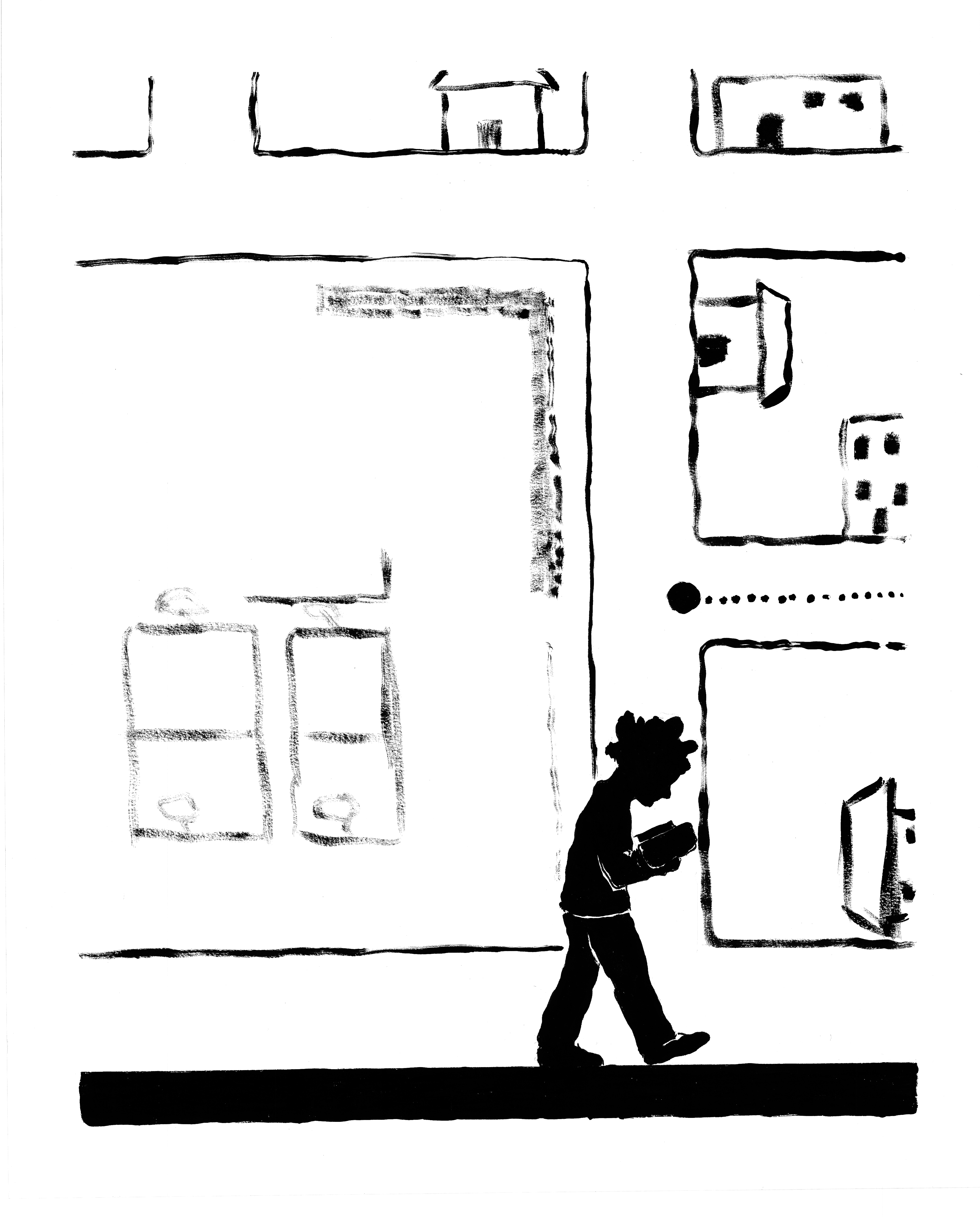 The image is a whole page from the book. Toward the bottom of the page, a young boy in silhouette walks in profile while looking down at his open book; a bold black line runs across the bottom of the page under his feet. The background or superimposition is a child's (his) drawing of a map in aerial view, showing streets, basketball courts, and buildings (drawn straight-on, not aerial), as well as a dotted line along a street that leads to a larger dot at an intersection.