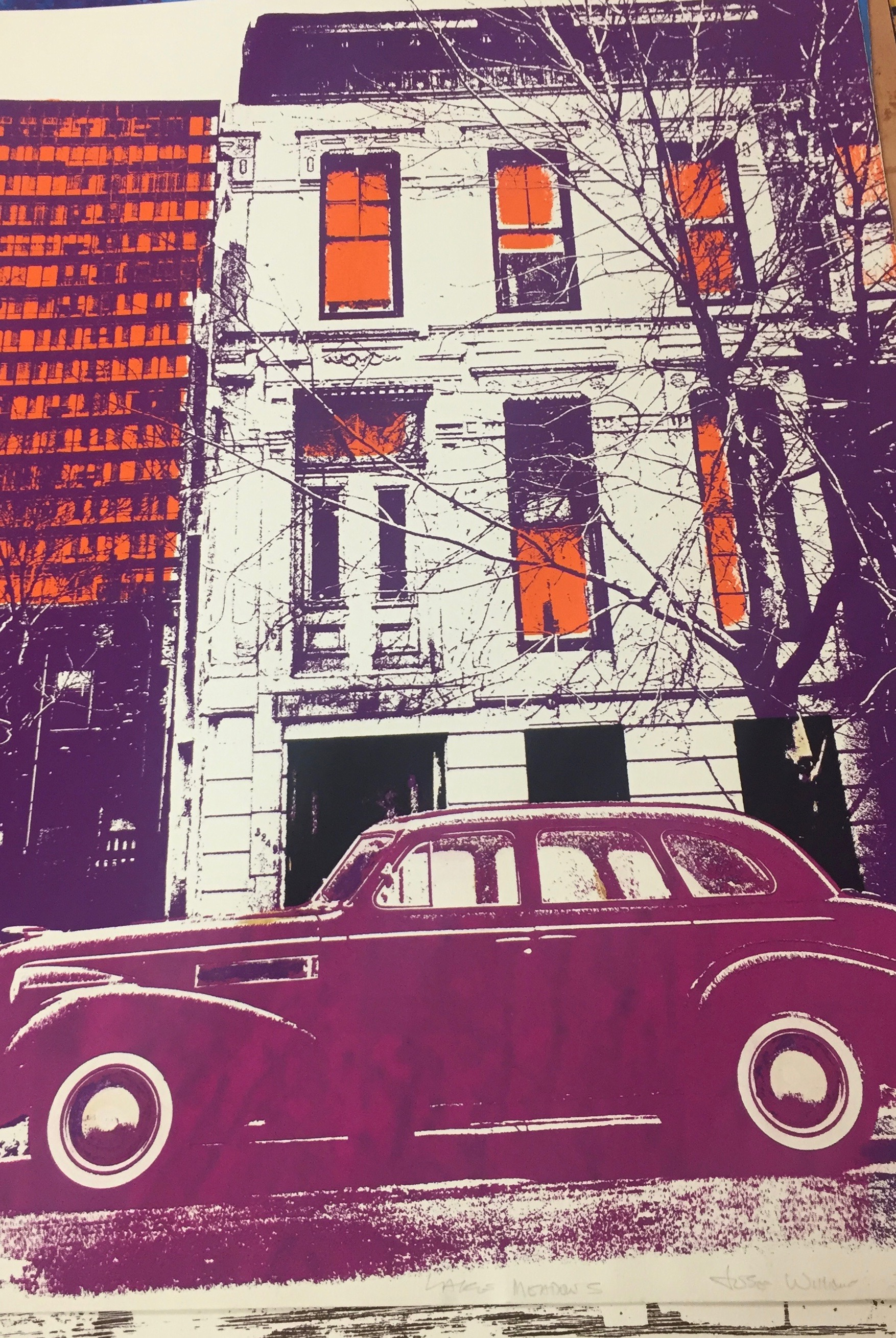 """Jose Williams. """"Lake Meadows,"""" 1975. An old-fashioned coupe parked in front of a tall apartment building, portrayed in whites, oranges, and purples. Illinois Institute of Technology, Paul Galvin Library, Special Collections ."""