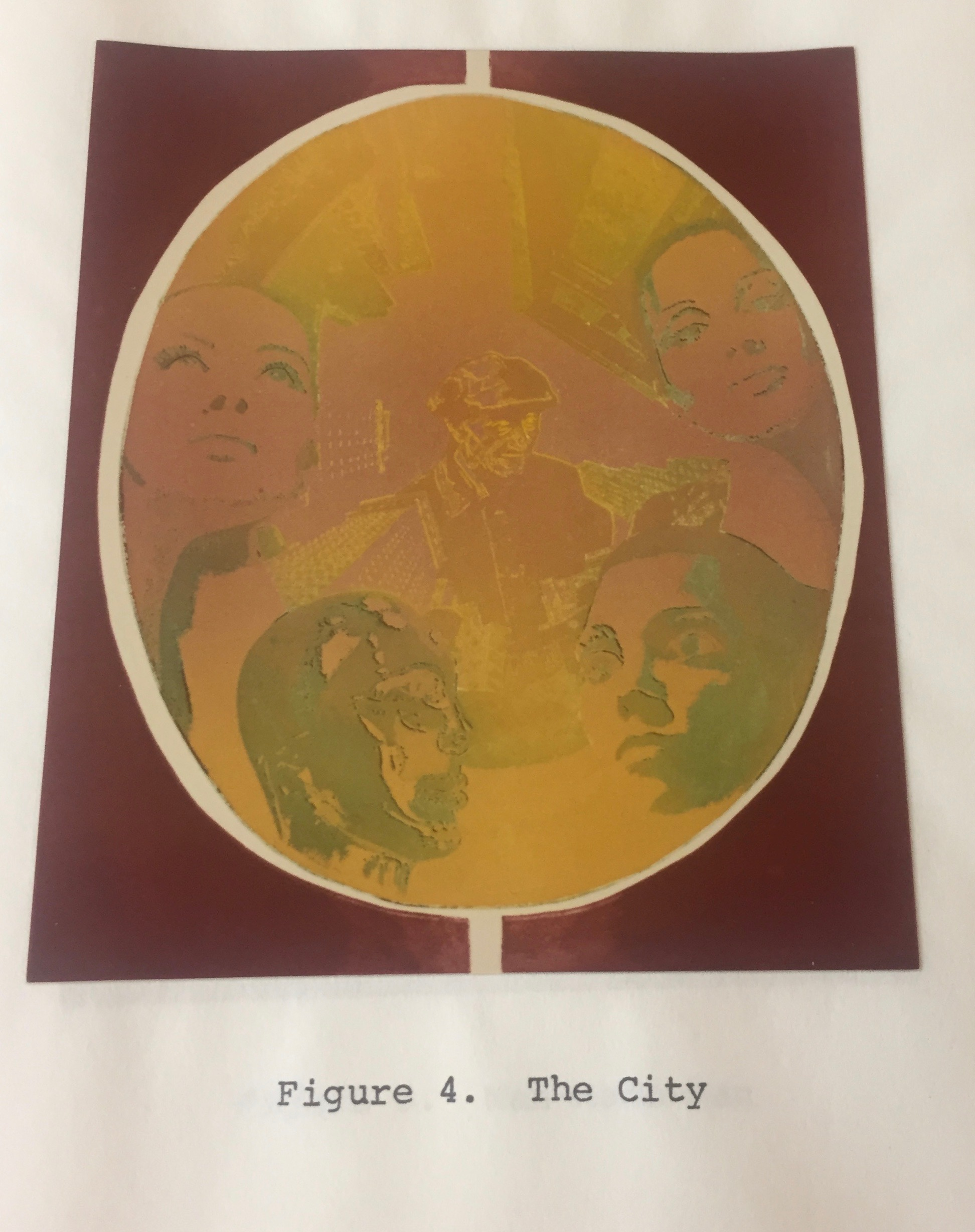 "Valeerat Burapavong. ""The City"" 1975. The faces of magazine models peer through a golden circle surrounded by a red square shape. Below the image are the words ""Figure 4. The City."" Courtesy of Illinois Institute of Technology, Paul Galvin Library, Special Collections."