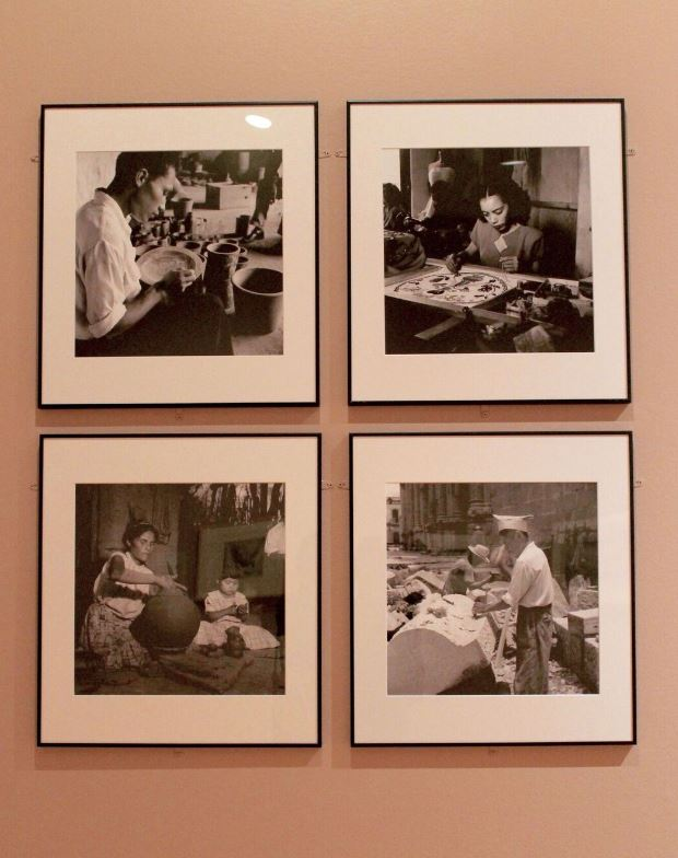 Four black and white photographs by Robert Natkin showing a ceramicist, costume maker, embroiderer, and a mason worker all engaged in their craft in Mexico. Image by Melissa Patiño Cervantes.