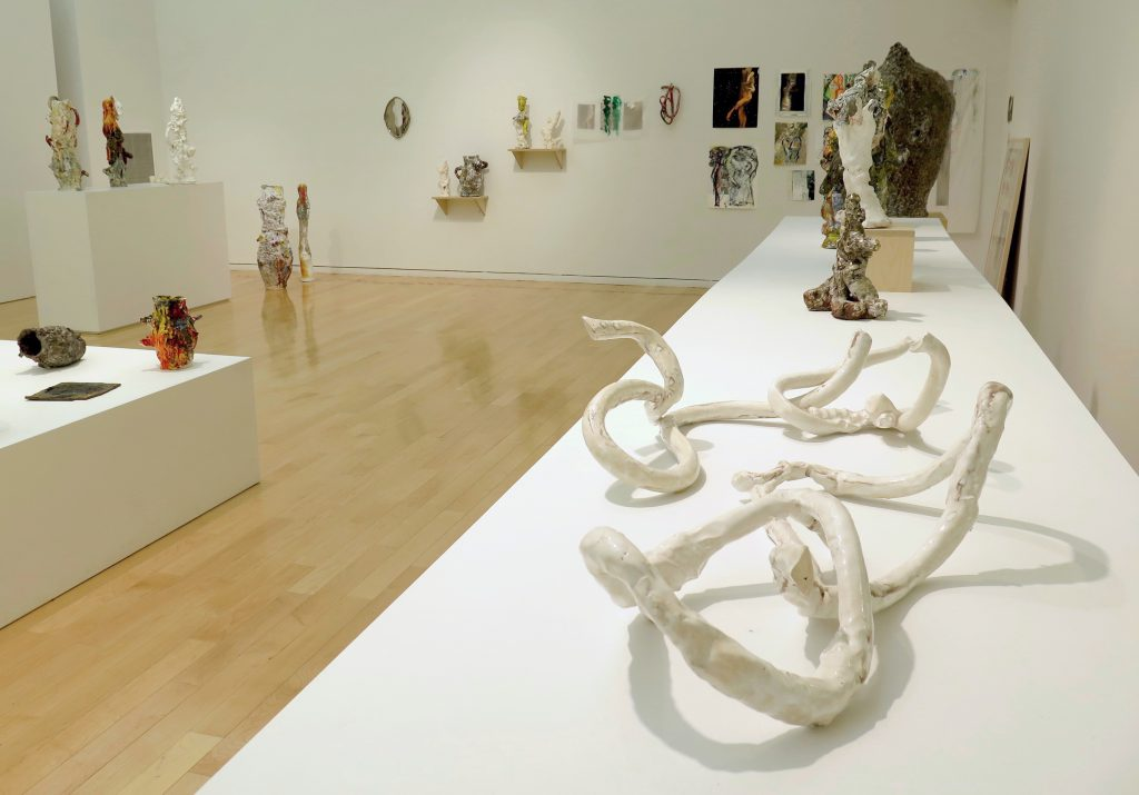 "This photo shows part of the gallery. On the right-hand side of the image, a long white table stretches from the foreground toward the back wall, with the work ""Lazo 018"" in the foreground, ""Exquisite Nomads"" at the other end, and a few sculptural objects in between. ""Lazo 018"" is comprised of four thin, serpentine, clay objects in two pairs (one of oblong loops leaning against each other without intersecting; one of a non-looped piece reaching into and up through a closed loop). Beyond the table and along the back wall are several two-dimensional works (leaning against or hung on the wall) and three-dimensional works (on small shelves or the floor). On the left-hand side of the image, in the background, are a tall pedestal with three objects and a short platform (in partial view) with three objects visible."