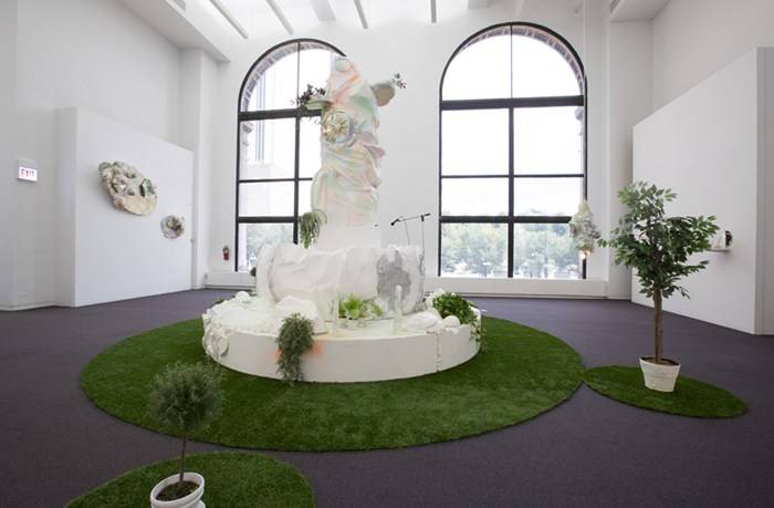 "Installation view of ""here and there pink melon joy,"" Sabina Ott, 2014, presented at the Chicago Cultural Center. Image credit: Claire Britt."