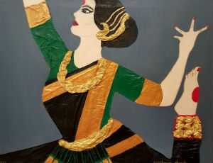 This image features an collage illustration of a South Asian dancer. She is in profile and is gesturing with her hands, mid-dance. She is cropped at the waist, but one foot breaks into the frame.