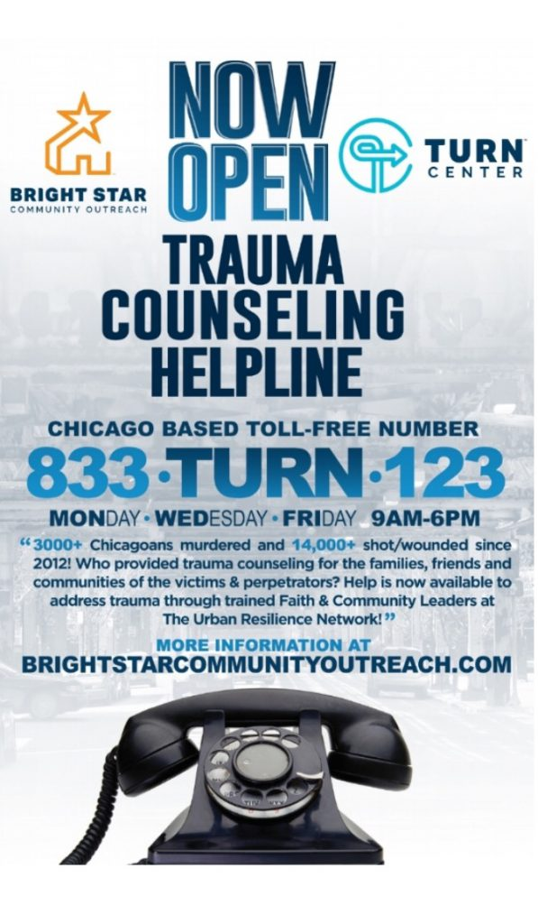 Image: Trauma Counseling Helpline info flyer. Image courtesy of the institution.