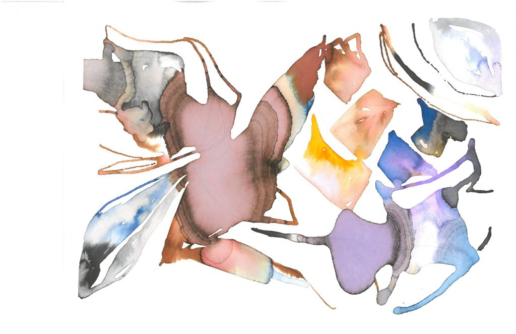 This image is of a white piece of paper with colorful, gestural, abstract forms. Most forms are multifaceted, comprising large bulbs of color as well as thinner streaks. Some larger, multi-faceted shapes connect with each other, and others are free-standing. Colors are not solid, but rather shift and combine and gradeate within each shape.
