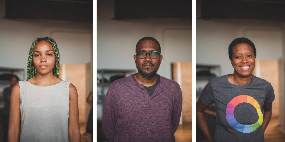 Image: Three separate close-up portraits of Shani Crowe, Andres L. Hernandez, and Amanda Williams in a studio at Bridgeport Art Center. The three of them are standing and looking directly into the camera. Photo by Ally Almore.