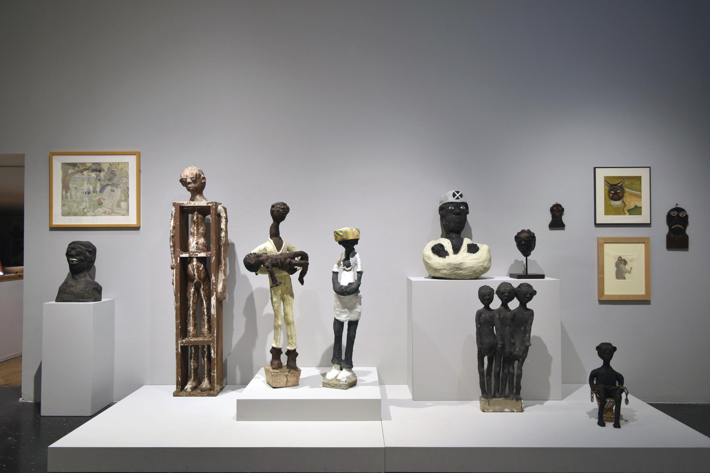 Works by Dr. Charles Smith on loan from John Michael Kohler Arts Center, gift of the Kohler Foundation Inc.