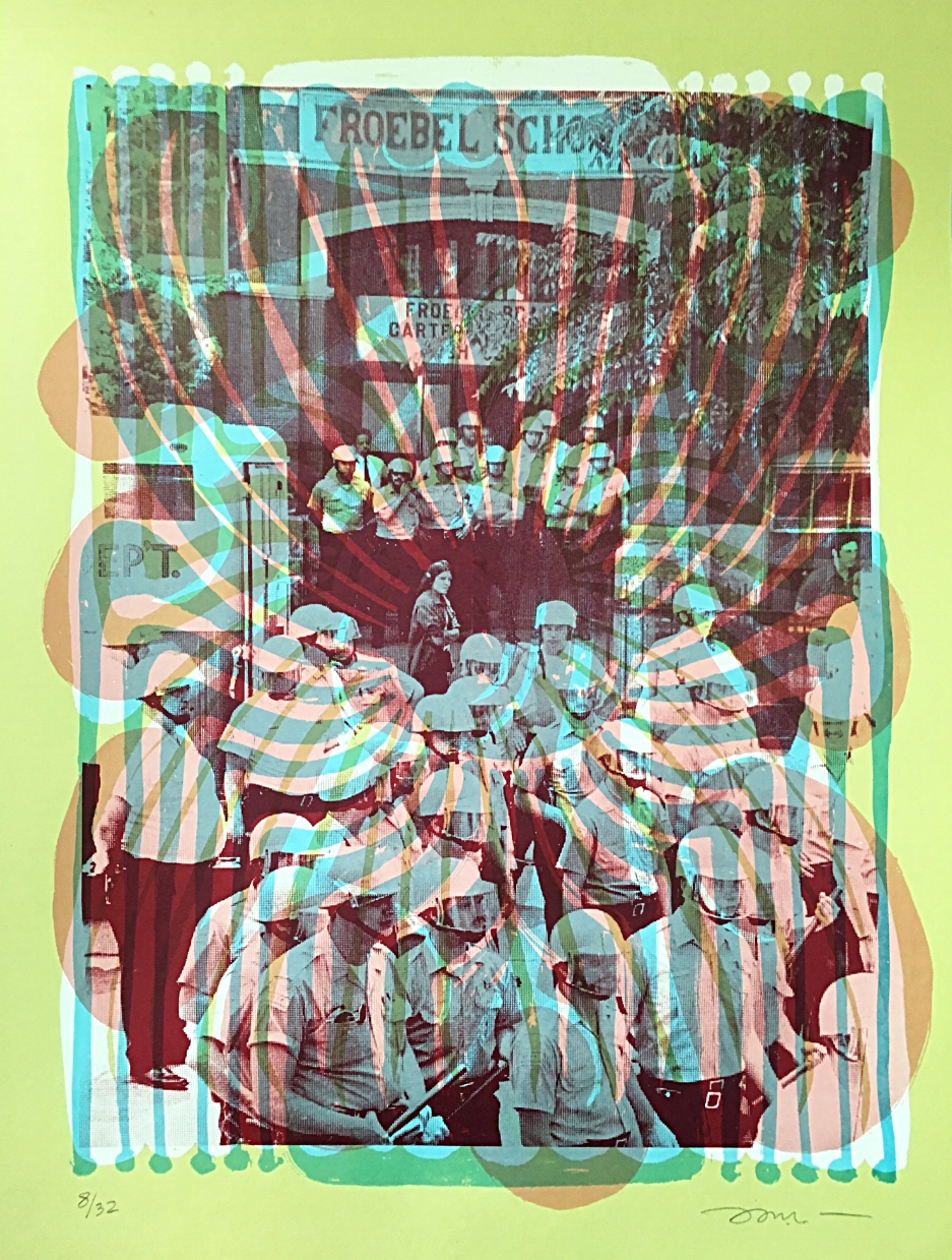 """Image: Nicole Marroquin, After the Takeover at Froebel, 1973, silkscreen on paper, 18x24"""", 2017. Swirling lines and shapes in blue, orange, and green ink are layered on top of an archival image of police officers assembled outside of Froebel School. Image courtesy of the artist."""