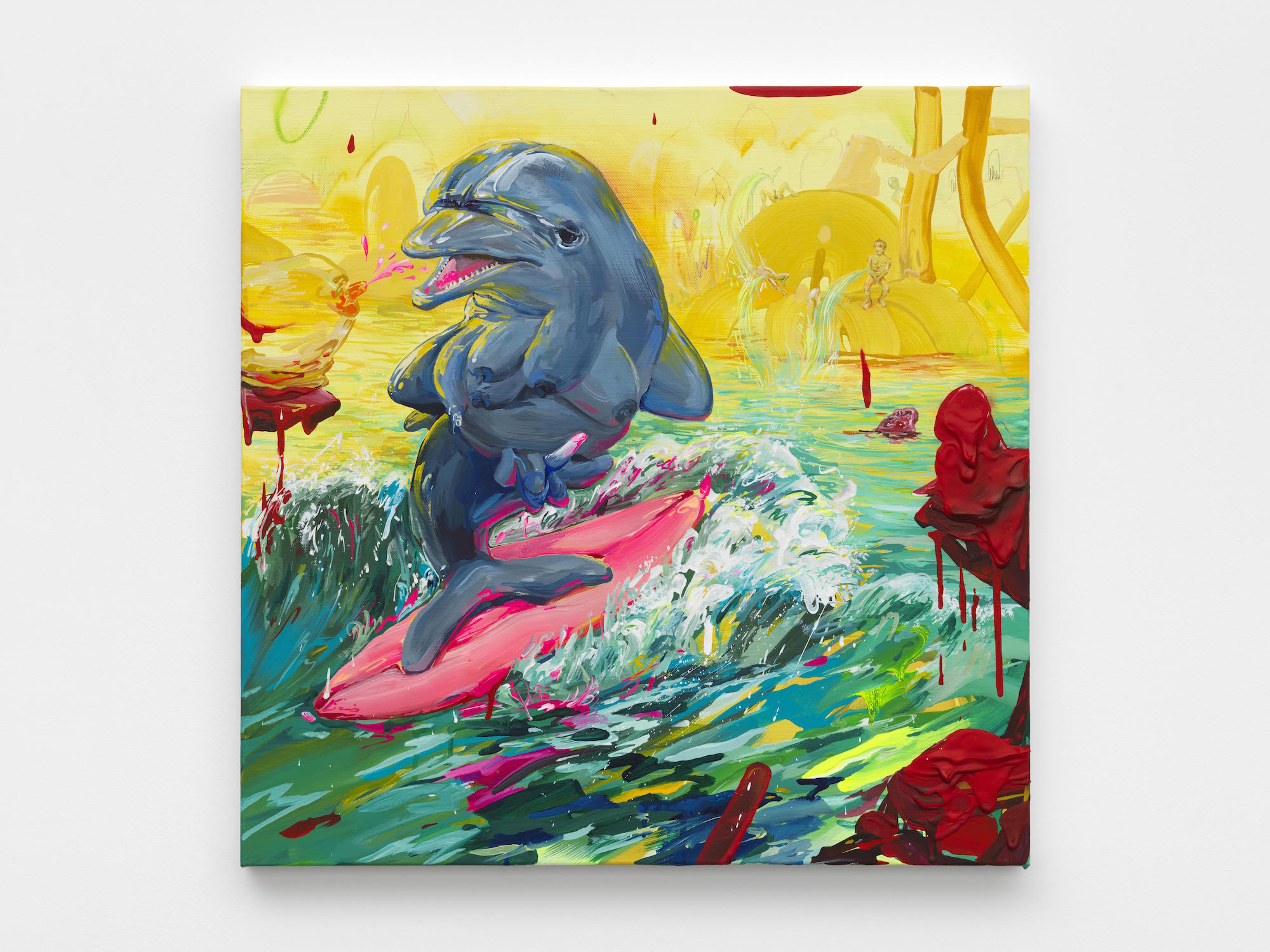 Image: This painting depicts a blue-grey dolphin standing on its tail fin surfing on a pink surfboard. The background is comprised of different hues of yellow, making the blue-green ocean and dolphin in the foreground stand out in contrast. Image courtesy of the artist.
