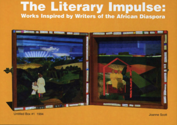 Exhibition postcard from The Literary Impulse: Works Inspired by Writers of the African Diaspora at The King Arts Complex in Columbus, Ohio, 1997. Courtesy of Glass Curtain Gallery.