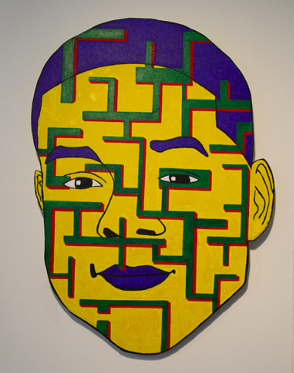 Image: Self-Portrait by Eric Blackmon, from the recent Prison + Neighborhood Art Project exhibition entitled Weight of Rage. The piece is predominantly yellow with green and red lines going across the face. The lips, eyebrows, and hair are purple. Image courtesy of the artist.