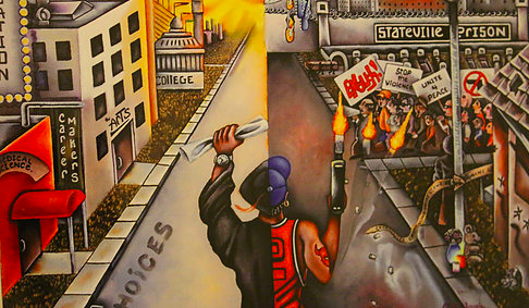 """Image: The cover art for the first Kid Culture mixtape, """"Choices."""" A young man is divided in half: his right half wearing a Chicago Bulls jersey and firing a gun, his left half wearing a graduation cap and gown and holding a diploma. Stateville Prison can be seen in the background on the right hand side, and university buildings can be seen on the left. Photo courtesy of Patrick Pursley."""