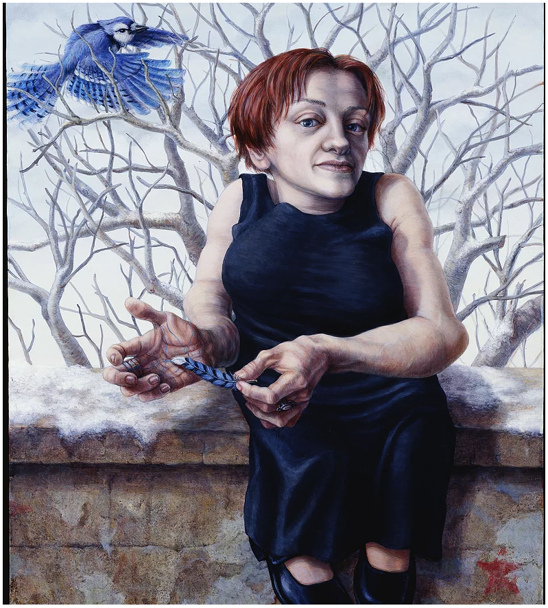 "Image: A portrait painting of Rebecca Maskos. Rebecca has short auburn hair and is wearing a black sleeveless dress. She is seated on a stone wall, her feet dangling. She runs a single blue feather along her palm. Behind her is a wintry scene with a leafless tree and a blue jay flying in from the left. ""Rebecca Maskos"" by Riva Lehrer, courtesy of the artist."
