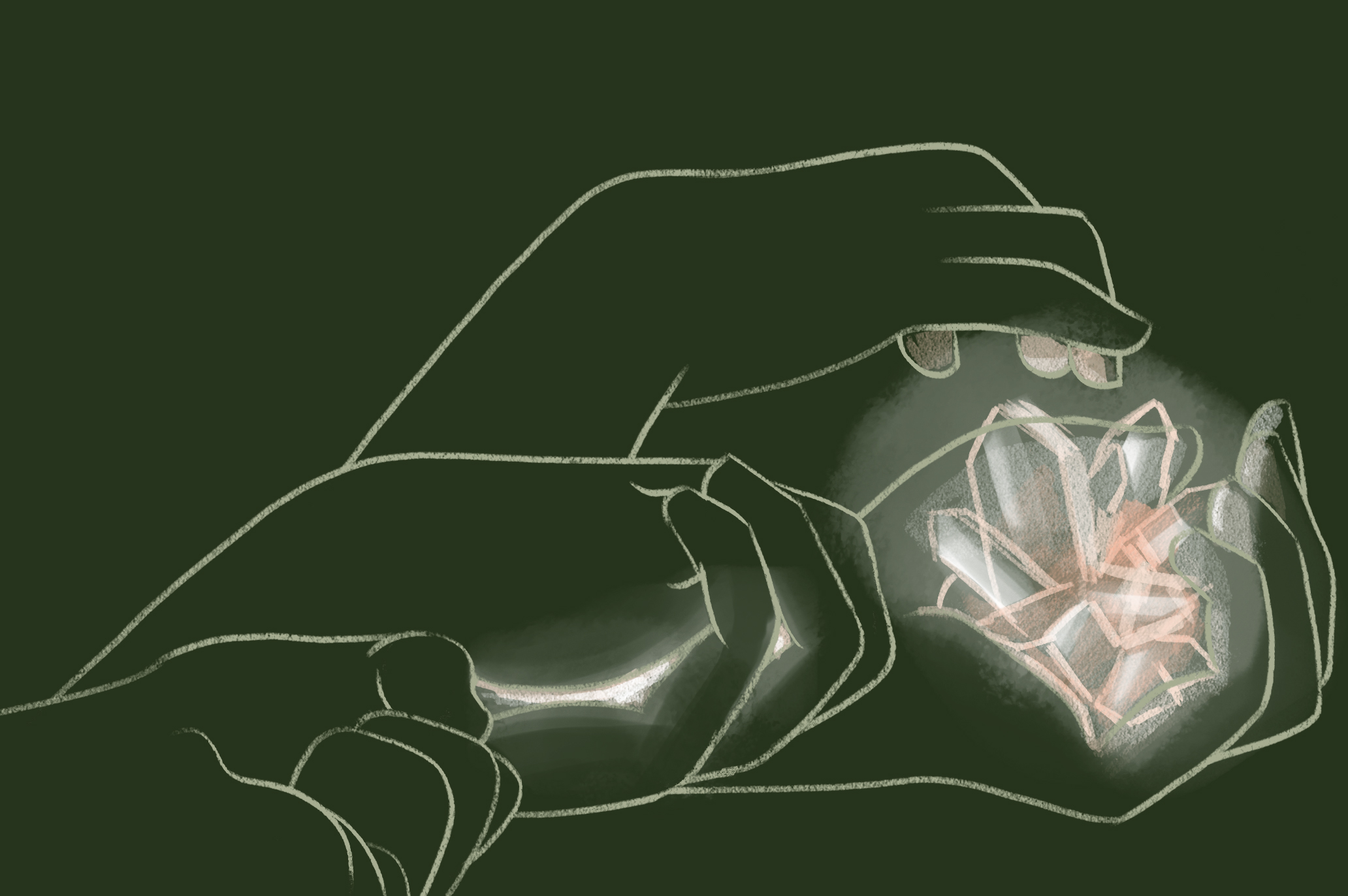 Image: An illustration of a three pairs of hands in progression from closed, slightly open, to fully open revealing many white, glowing crystals. The background is plain dark green and the lines of the hands are drawn in  white. Illustration by Kiki Dupont.