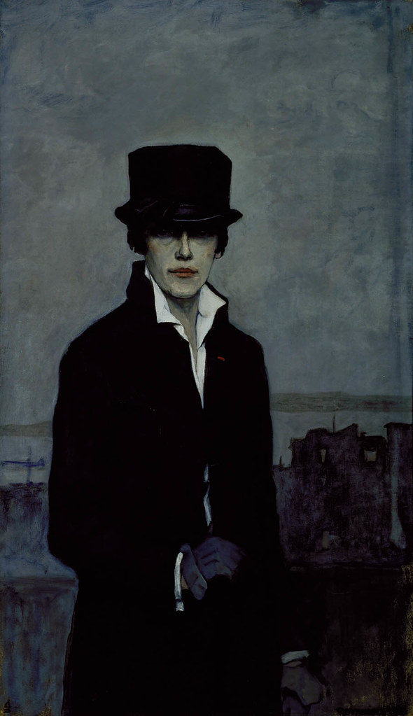 "Image: Romaine Brooks, Self-Portrait, 1923. In her oil on canvas self-portrait, Brooks paints herself in androgynous clothing, including a top hat and coat, emblematic of the 1920s ""New Woman."""