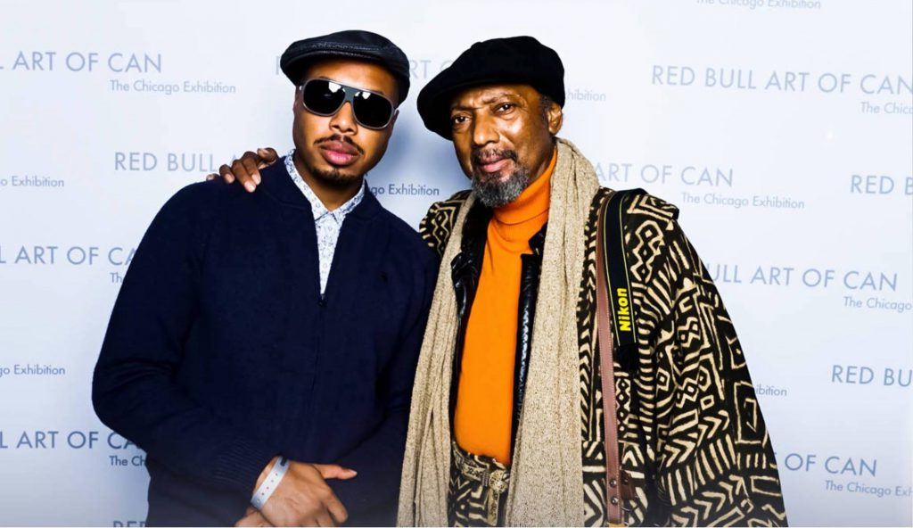 Image: Brother El with Milton Mizenburg at the Red Bull Art of Can Competition, 2014.