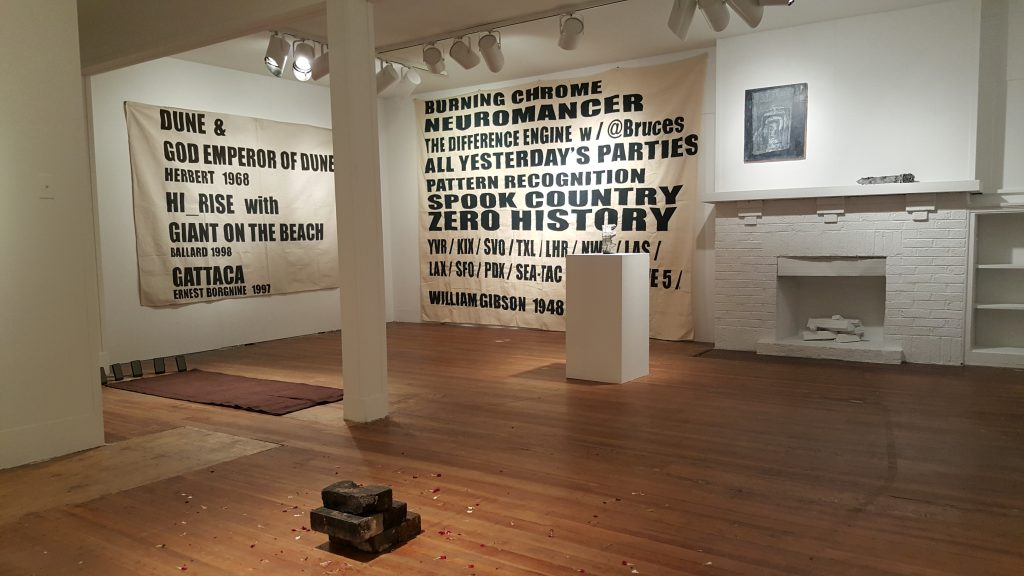 Image: Installation view of Dustsceawung, 2016, curated by Adam Farcus. Artwork by Harold Mendez, Adam Bach & Ellery Royston, Stephen Hendee, Boyang Hou, and Erin Washington. Photograph by Brytton Bjorngaard.