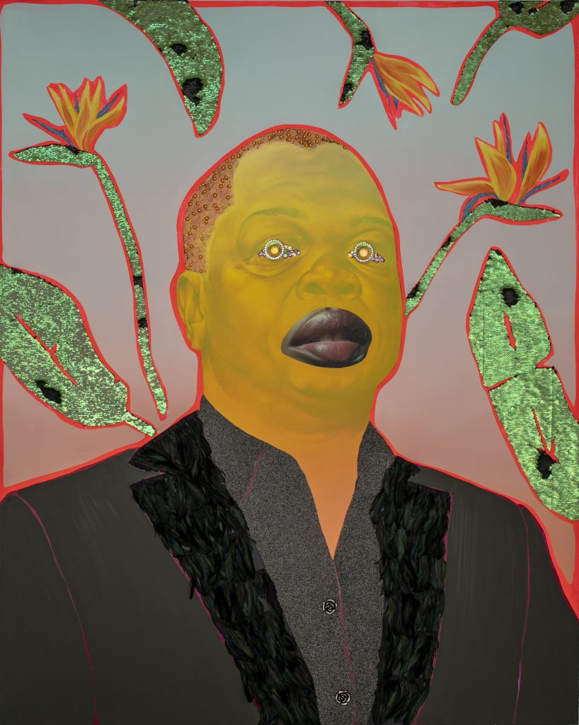 """Image: Devan Shimoyama, """"Kehinde,"""" 2018. Portrait of artist Kehinde Wiley. A single male figure is pictured from the chest up. The face is painted yellow, and he wears a black shirt and jacket. In the place of the eyes are colorful, glittery jewels. Behind him are seven leaves and flowers on a background that fades from red at the bottom to blue at the top. Image courtesy of the Smithsonian Institution Traveling Exhibition Service and the artist."""