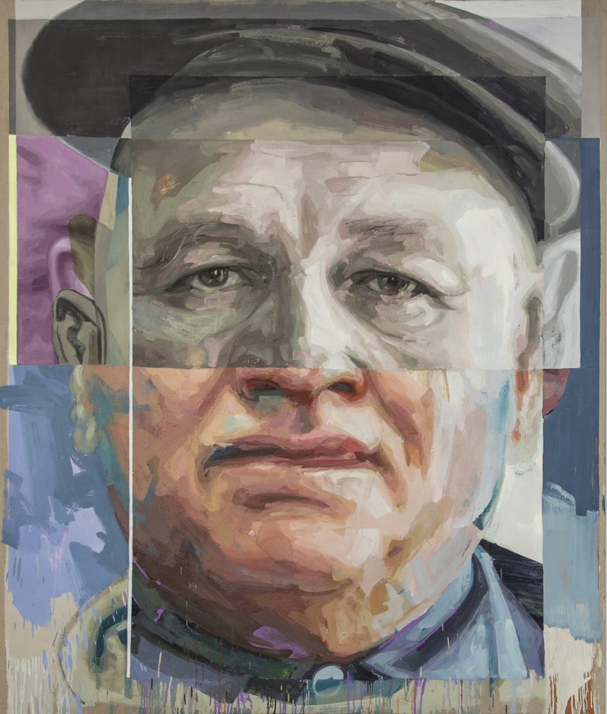 """Image: Patrick Earl Hammie, """"Romare Bearden,"""" 2018. Portrait of Romare Bearden. A single male figure is pictured from the neck up. The top of the face appears older, and the bottom of the face appears younger. The man looks out at the viewer. He wears a newsboy cap. Image courtesy of the Smithsonian Institution Traveling Exhibition Service and the artist."""