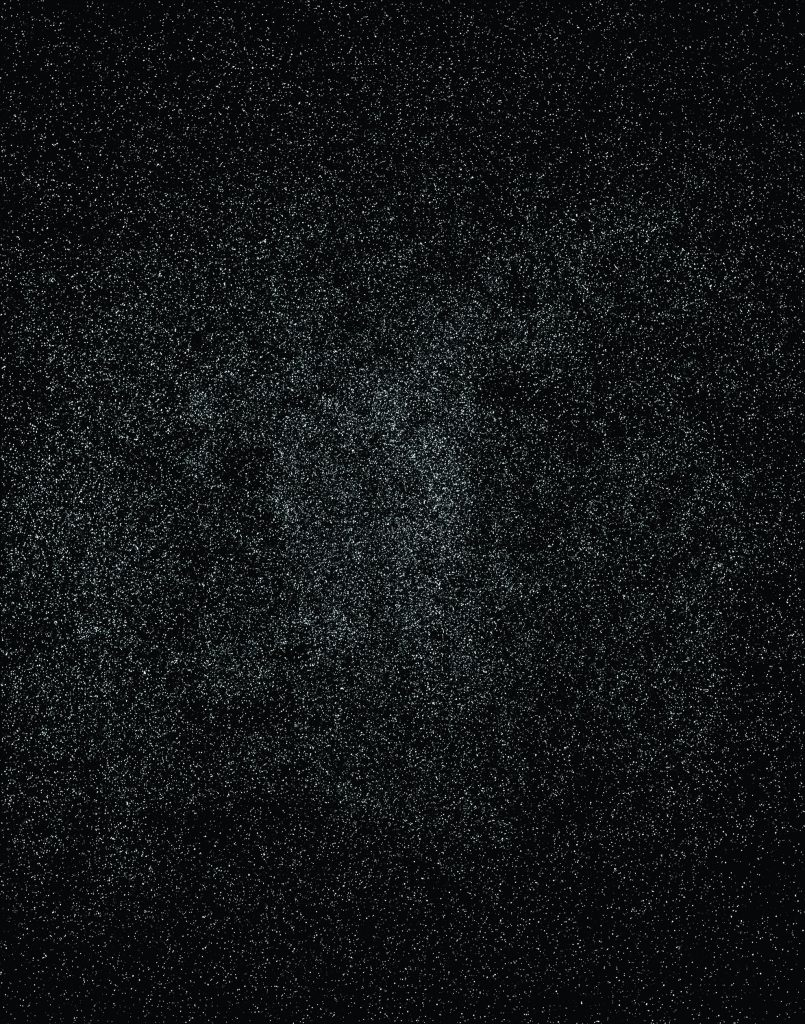 """Image: Knowledge Bennett, """"Black Excellence,"""" 2018. A large, black canvas appears to be covered in glitter or tiny white dots. It resembles a sky full of stars. Image courtesy of the Smithsonian Institution Traveling Exhibition Service and the artist."""