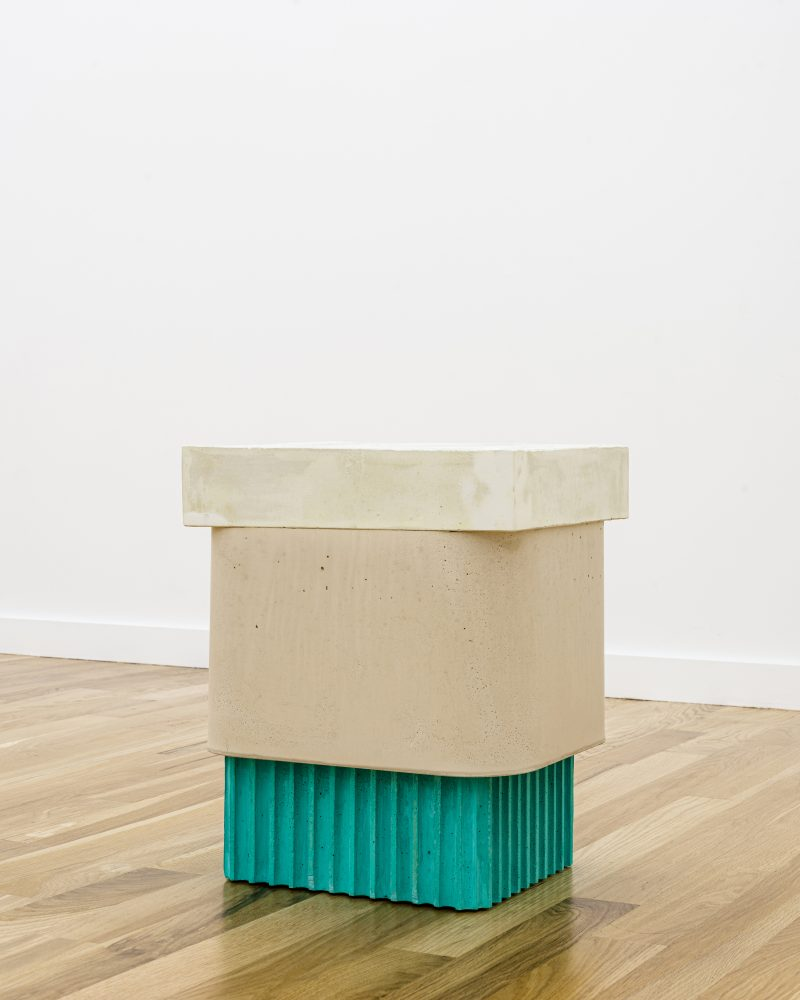 "Image: Gordon Hall's ""Three-Part Stool (Cream, Beige, Green),""  courtesy Document Gallery."