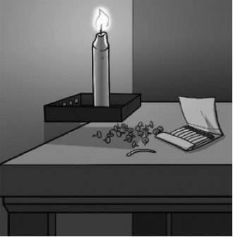 Image: a grayscale illustration demonstrating the solution to Duncker's Candle Problem.