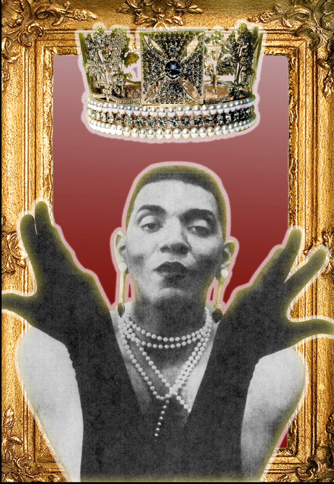 Image: A collage featuring a black and white photo of Assotto Saint wearing pearls, earrings, and black gloves with his hands in the air. The photo is set on a maroon background with a gold frame. A crown floats above Assotto's head. Image by T'yanna Moore, courtesy of Mario LaMothe.