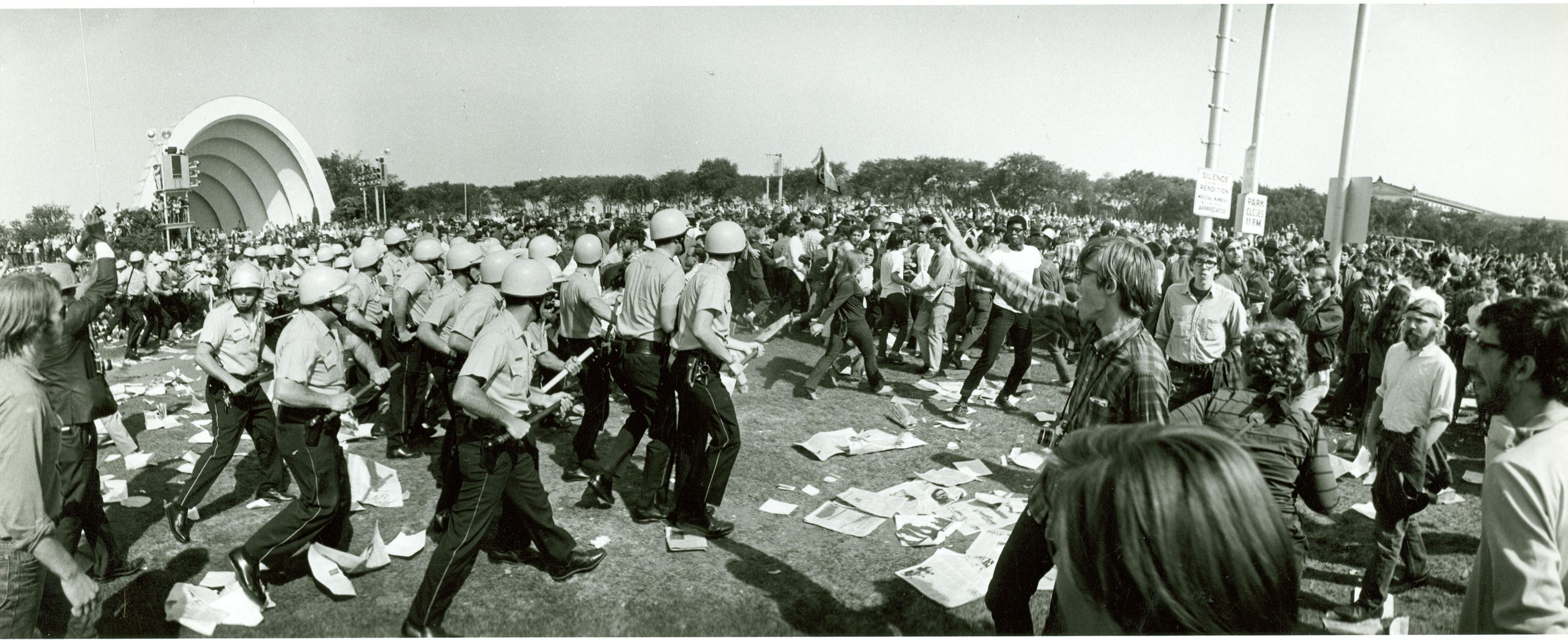 Image: Protestors and Chicago Police Officers in Grant Park, August 28, 1968. Source: National Archives; ARC identifier: 6210767.