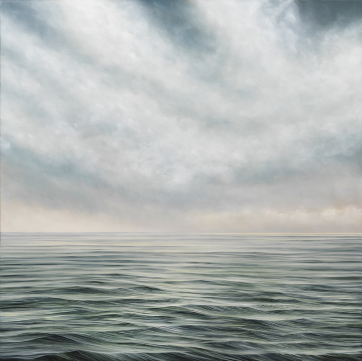 "Image: As It Is #624, oil on panel, 48"" x 48"", 2020. The square painting looks out into the green and blue body of water. The waves are a bit choppy. As the viewer looks further out into the horizon, it turns into a pale blue. The sky above the water is a light blue with heavy clouds. Photo by Tom Van Eynde."