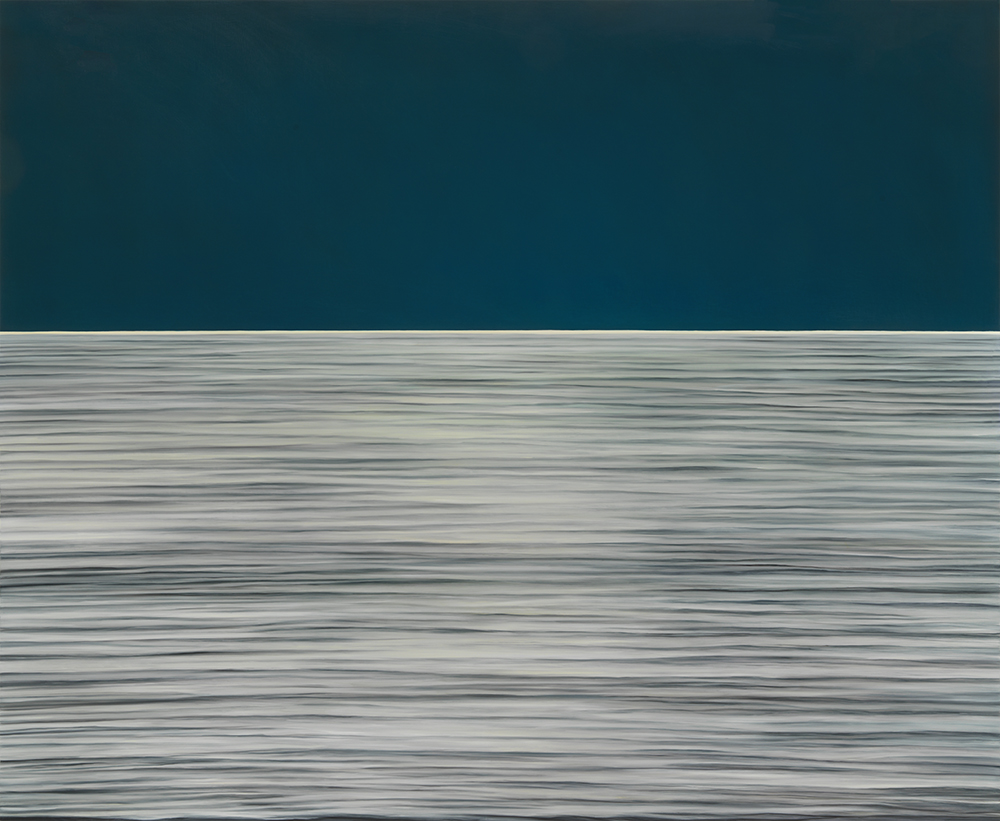 "Image: Moon Translation #635, oil on panel, 55"" x 67"", 2020. The lower half of the image is a grey hue with harsh, flat lines that are darker, almost black. Above the water is a flat color with no detail. It's a dark blue. Photo by Tom Van Eynde."