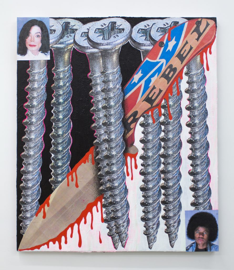 "Image: Man In The Mirror, 2020, by Cameron Spratley, acrylic, gouache, cut paper, collage, and china marker on canvas, 42 x 36"". The painting portrays a grouping of large screws with a bloody knife that that has part of the confederate flag and the word 'rebel' on it. The top left and the bottom right corner each have a small image of Michael Jackson: one young and black, the other older and white. Image courtesy of M. LeBlanc."