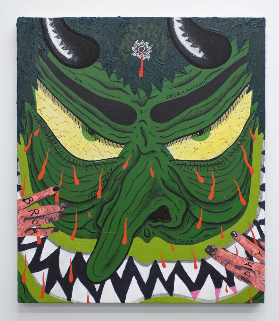 "Image: Mayhem, 2020 by Cameron Spratley, acrylic, gouache, ink, molding paste, spray paint, cut paper, collage, vinyl, colored pencil, and china marker on canvas 30 x 26"". The painting shows a green-colored face referencing a Japanese mask with a hand holding the face from the bottom and the left side of the composition. There is a bleeding bullet wound on the forehead. Image courtesy of M. LeBlanc."