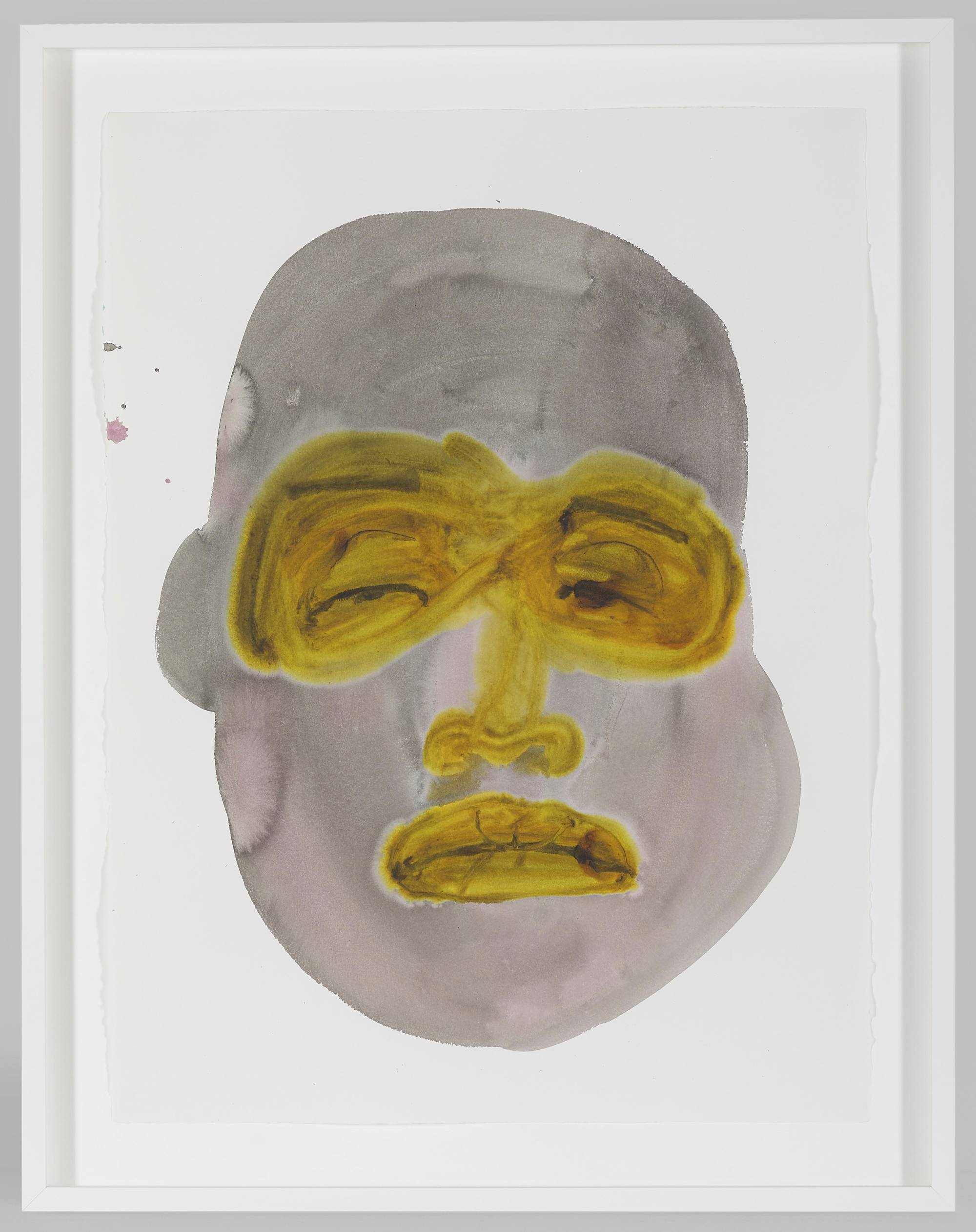 Image: Work by February James. Cluttered Contradictions, 2020, 30 x 22 inches. Watercolor and ink on paper. An expressive watercolor portrait is depicted in gray and pink hues. The eyes, nose, and lips of the face are mustard yellow. The portrait is exuding an unconvinced expression. Image courtesy of the artist and Monique Meloche Gallery.