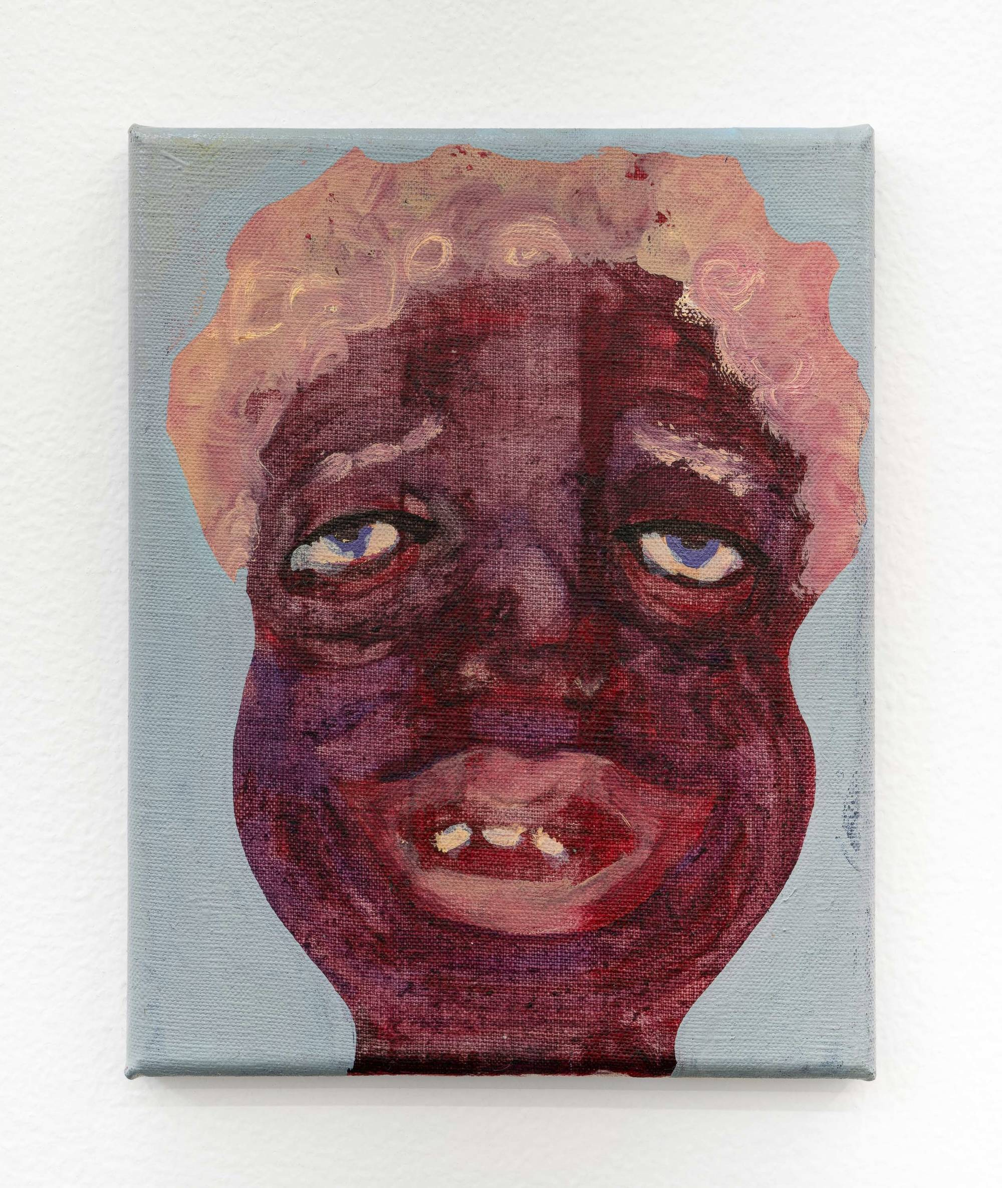 Image: Work by February James. Tethered To You #1, 2020, 10 x 8 inches. Oil on canvas. The portrait of a figure with deep brown and purple skin-tones is complimented by short, curly cotton-candy pink colored hair. Their eyes and mouth are partially open, revealing three teeth through a partial smile and an expression of longing. Image courtesy of the artist and Monique Meloche Gallery.
