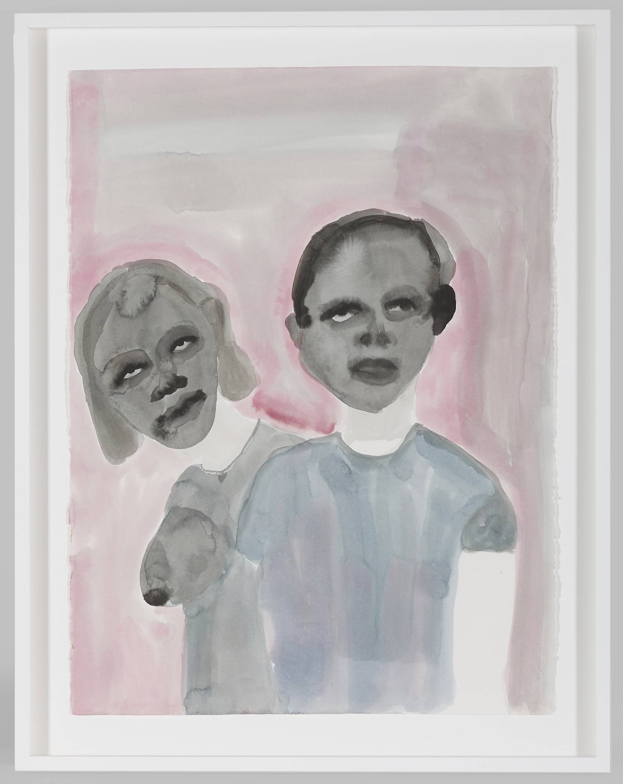 Image: Work by February James. It Takes More Than One Tool To Build A House, 2020, 30 x 22 inches. Watercolor and ink on paper. The upper bodies of two ghostly figures are rendered in gray tones of watercolor. They sit atop a pink background. The female figure on the left peeks out from behind male as they both gaze at the viewer. Image courtesy of the artist and Monique Meloche Gallery.