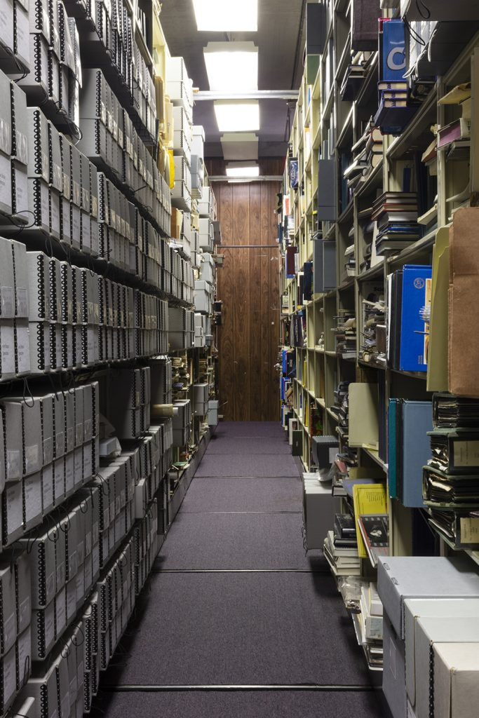 Image: Wernher von Braun Archive, U.S. Space and Rocket Center, Huntsville, AL, 2019 by Barbara Diener. A view of an isle of boxes and files in the Wernher von Braun Archive. Image courtesy of the artist.